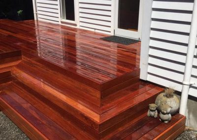 willow-landscapes-shiny-polished-back-door-deck-wooden-stairs-entertainment-area-carl-gildea-landscaping-christchurch